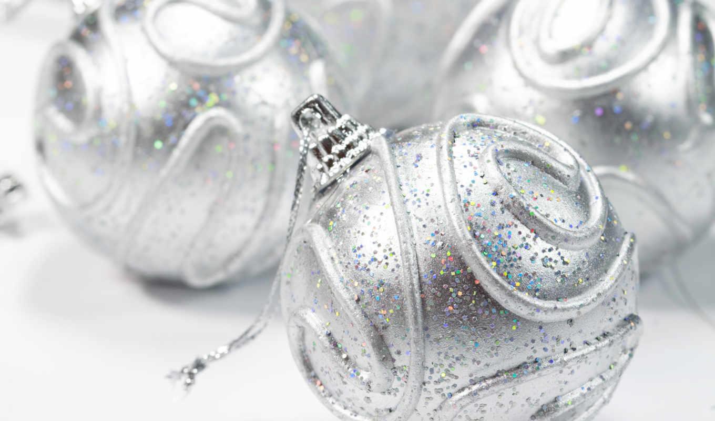 шар, christmas, серебро, блестки, white, new, имя, decorations,