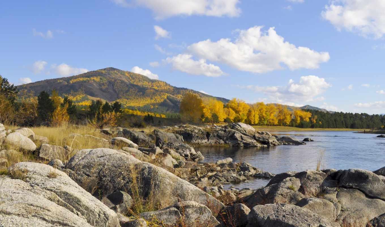 осень, камни, горы, река, озеро, деревья, картинка, картинку,