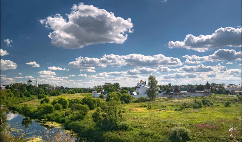 лето, покровский, река, поле, монастырь, суздаль,