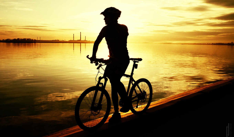 mtb, bike, велосипед, закат, облака, река, вода, clouds, нравится,