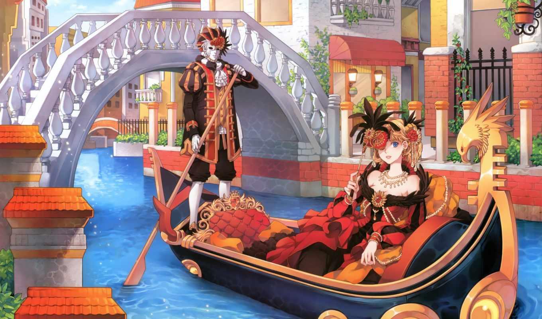венеция, гондола, канал, мост, здания, лодка, water, маска, art, украшения,