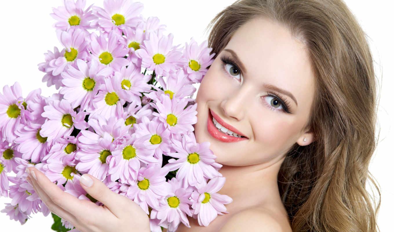 девушка, цветы, букет, улыбка, свет, devushki,