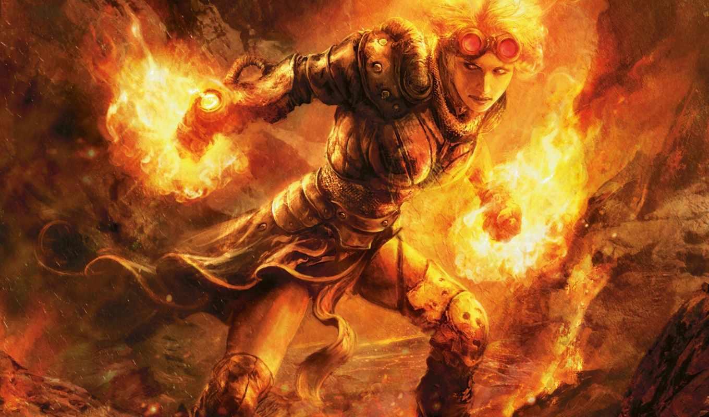 огонь, девушка, маг, арт, девушки, камни, кожаная, доспех, очки,