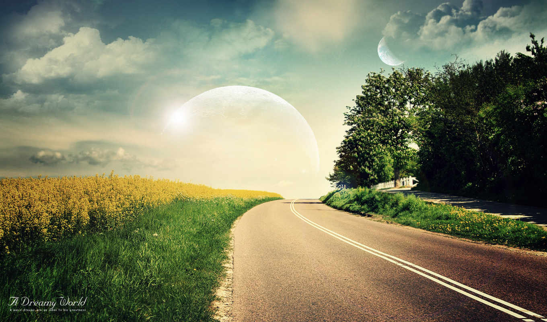 дорога, цветущее, дерево, луна, поле, rising, летняя, солнца,