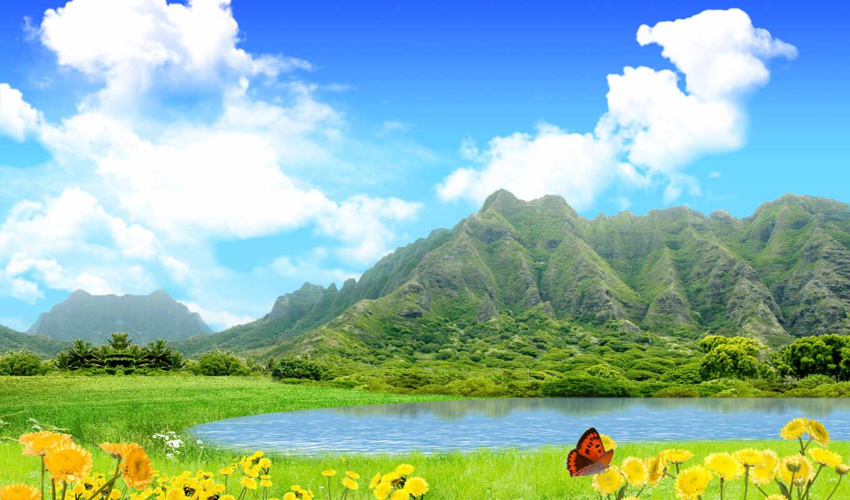 горы, природа, небо, summer, озеро, цветы, landscape, oblaka, water, взгляд, трава,