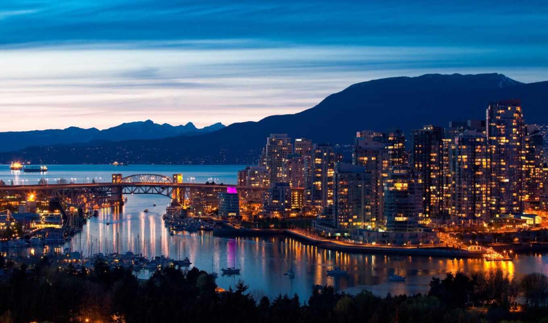 город, канада, vancouver, огонь, море, гора, мост, landscape