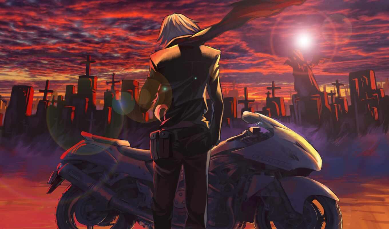 anime, мотоцикл, anim, парень, boy, art, девушка, оружие, narrow, drawing
