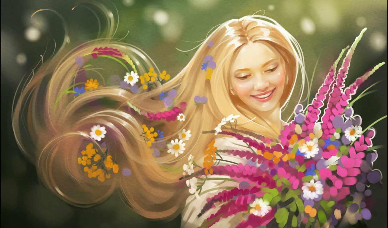 девушка, summer, цветы, весна