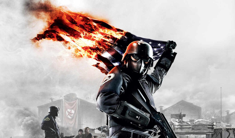 homefront, флаг, солдат, огонь, картинку, картинка, боец,
