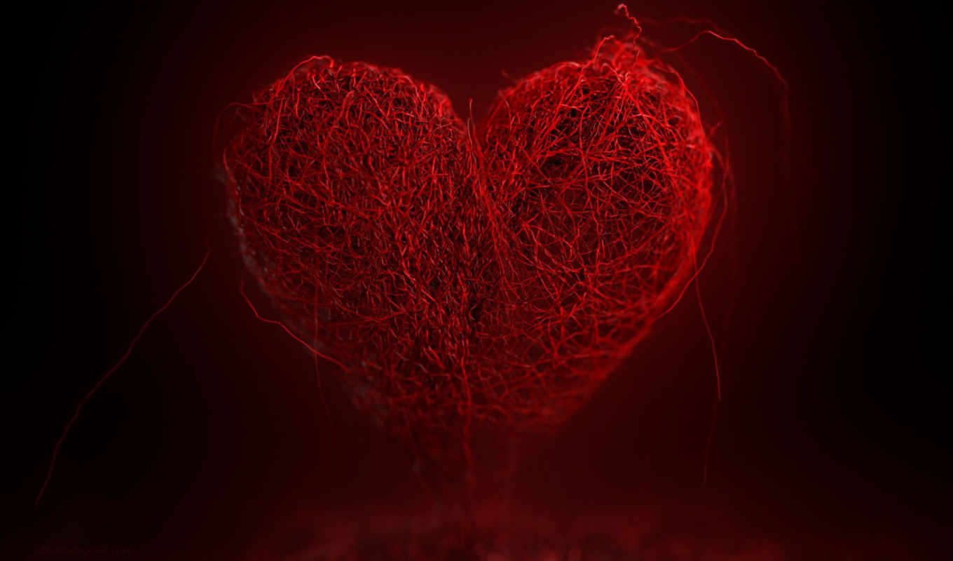 heart, красное, нити, red, background, desktop, kalp, tel, örgü,