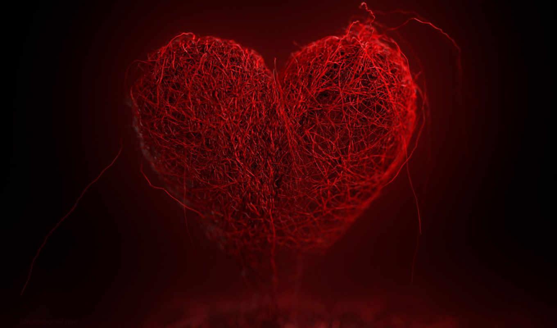 heart, красное, нити, red, background, desktop, kalp, tel, örgü,