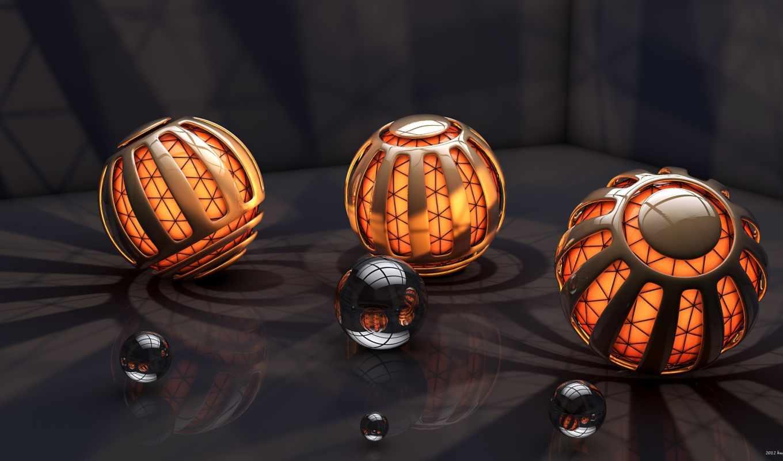 шары, свет, рендер, abstract, смотрите, спирали, spiral, сферы, spheres, orbs,