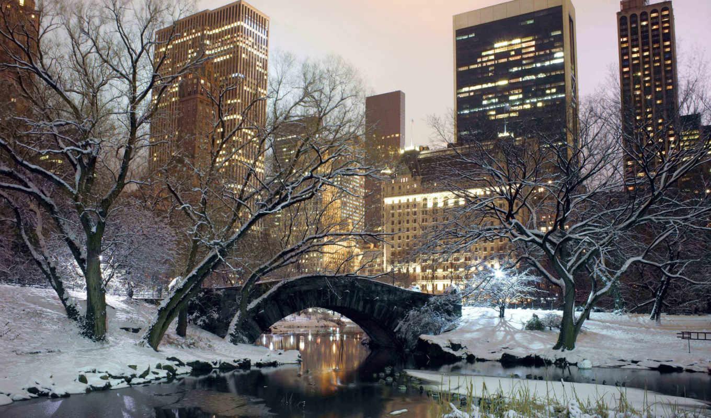 парк, зима, мост, сша, вечер, дома, нью, йорк, америка, картинка, central, most, iphone,