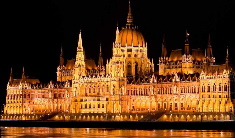 венгрия, парламент, будапешт, ночь, столица, огни, дунай, река, вода, best, картинка, hintergrundbilder,