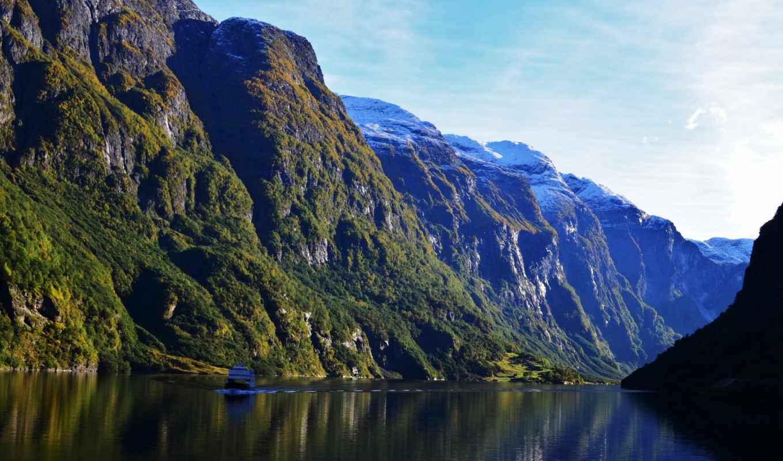 река, катер, природа, норвегия, небо, пейзаж,