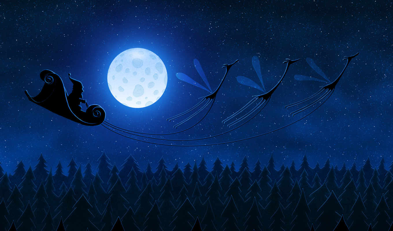 desktop, ipad, free, background, christmas, flying, fantasy, will, santa, vladstudio,