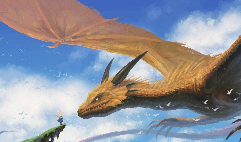 небо, art, полет, дракон, девушка, oblaka, драконы, картинка, anime,