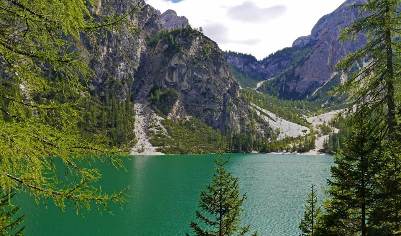 озеро, braies, изображение, italy, картинка, mountains, природа,