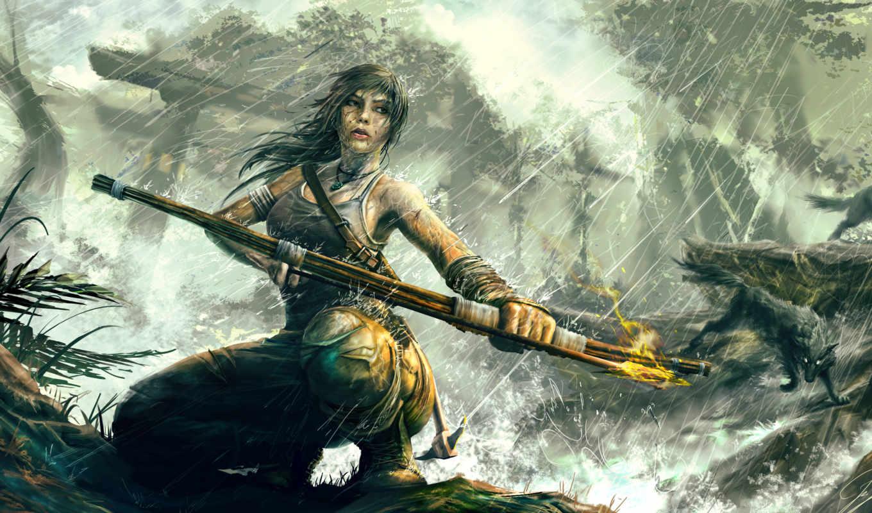 tomb, raider, взлёт, лара, croft, крофт, арты, игры, новой,