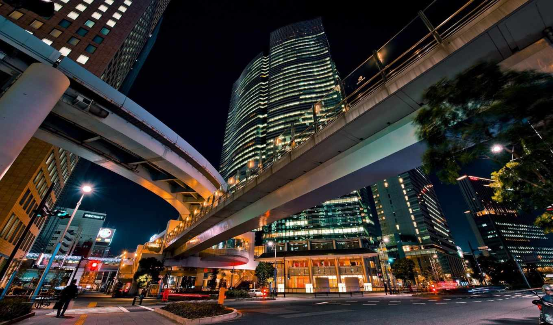 развязки, японские, дорожные, дорога, vehicles, япония, ночь, дороги, машины, здания,