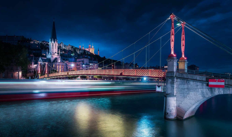 мост, джордж, река, подвеска, ночь, hill, saone, fourvi-re, church, lyon
