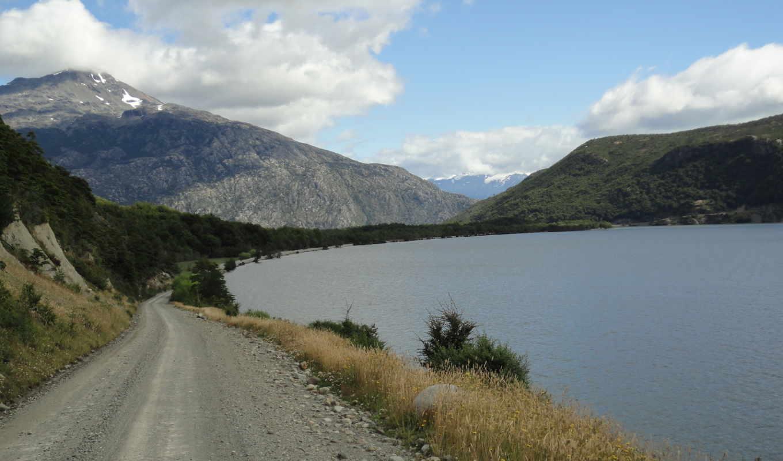 дорога, озеро, горы