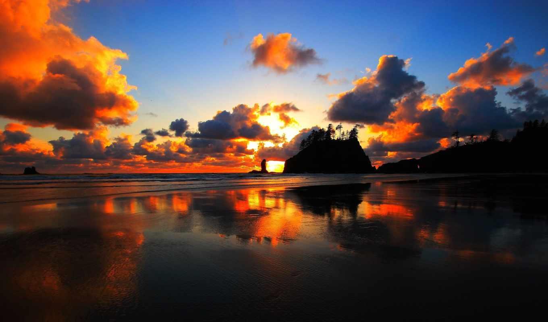 закат, washington, пляж,