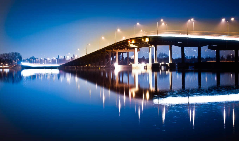 мост, ночь, фонари, pro, water, full, свет, retina, macbook,