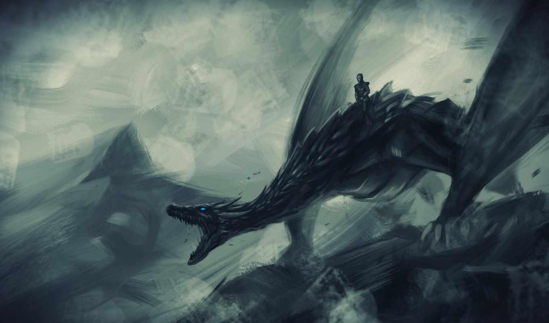 game, thrones, дракон, лед, king, ночь, white,