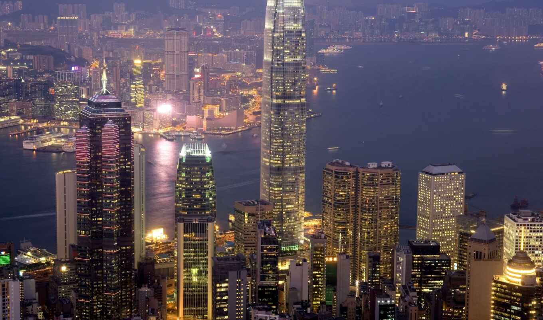 hong, urban, landscape, город, victoria