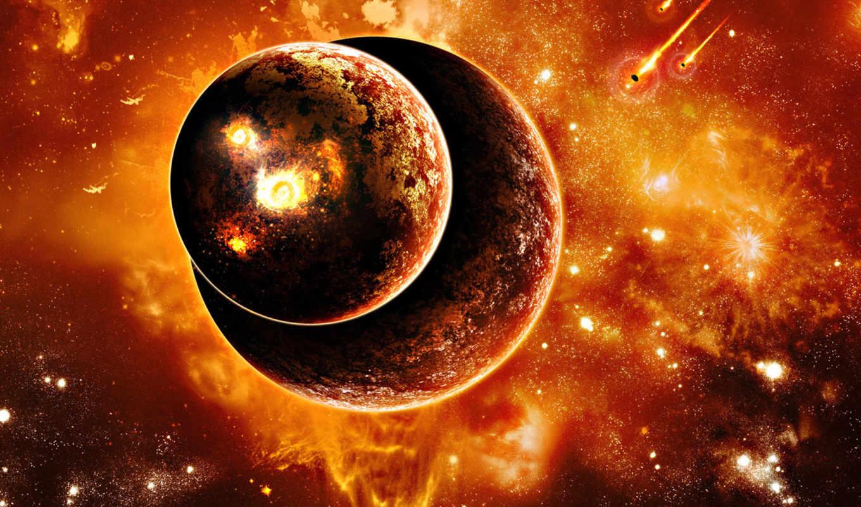планеты, космос, wallpaper, две, метеориты, space, вселенная, взрывы, hd, wallpapers, science, to, fiction,