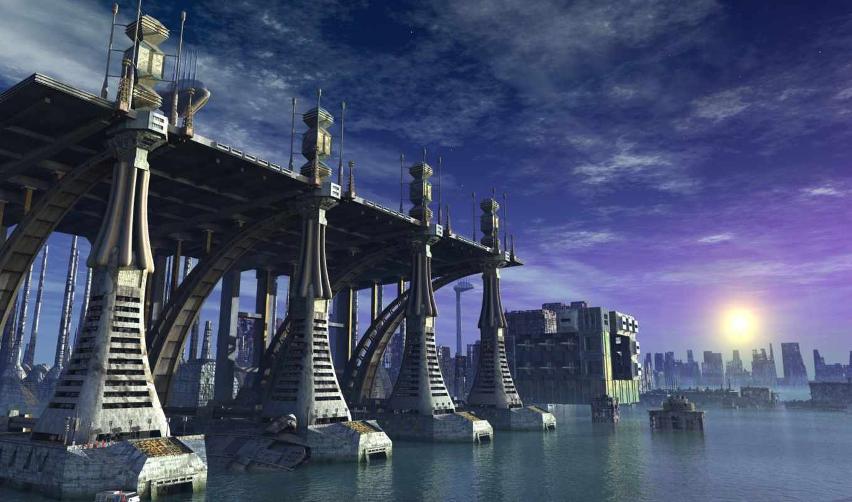 city, sci, вода, солнце, конструкция, смотрите,