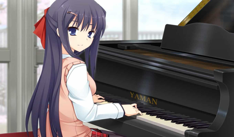 anime, piano, девушка, playing, pinterest, волосы, музыка, волк, brunette,