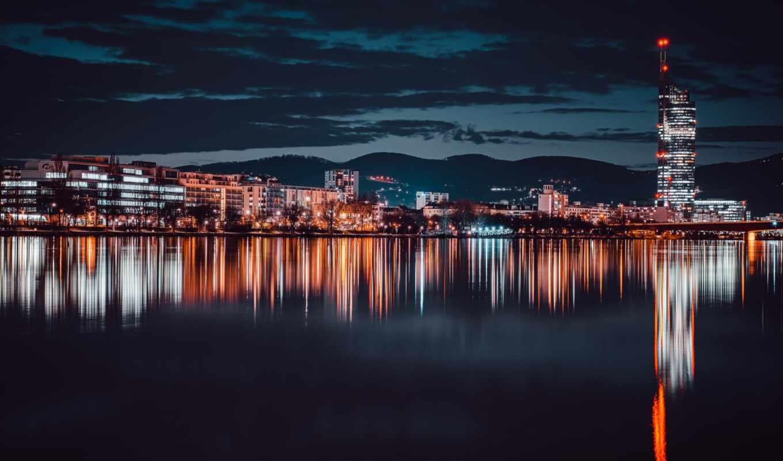 vienna, город, veno, austrian, австрия, компьютер, smartphone, ночь, skyline