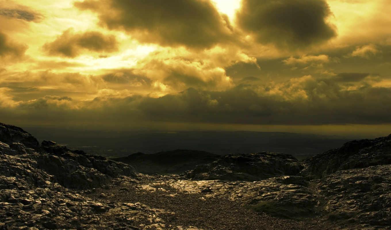 облака, desktop, full, sky, sun, рассвет, landscape, море, nature, post, war, landscapes, after, nuclear,