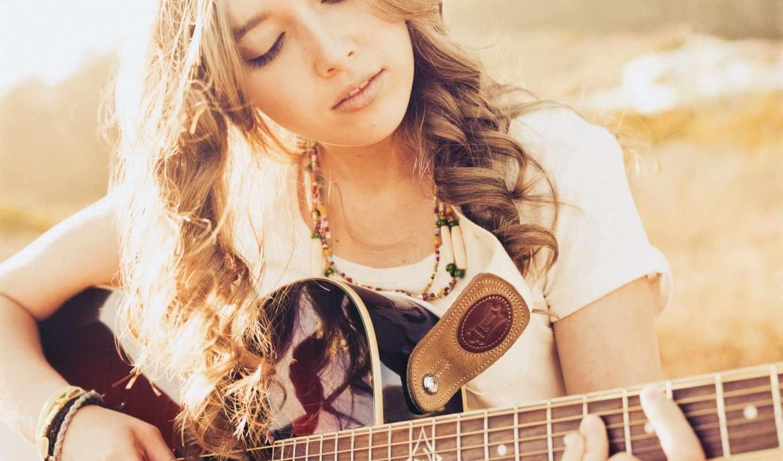 гитара, девушка, музыка,