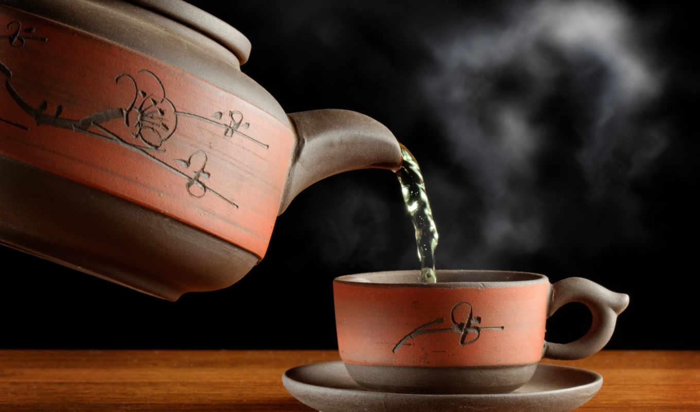 чая, чайник, steam, cup, посуда, зелёный,
