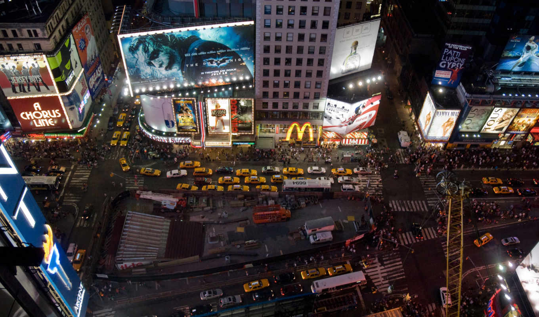 york, square, new, город, ночь,
