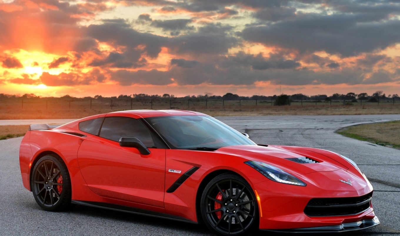 авто, chevrolet, машина, corvette, red, закат, stingray,