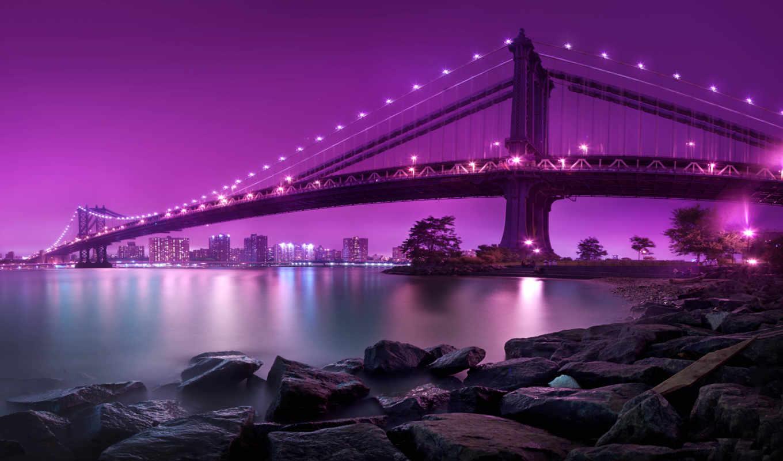 город, new, york, ecran, fond, картин, manhattan, постеров, огни,