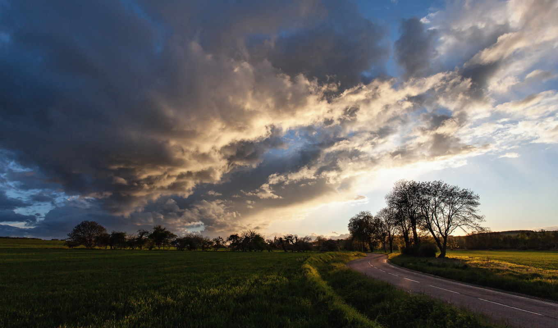 поле, дорога, windows, сайте, нашем, закат, фотографий, красивые,