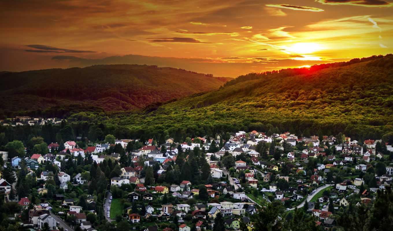 austrian, bosque, канал, atardecer, landscape, casas, широкоформатные, бесплатные, красивые, картинка,