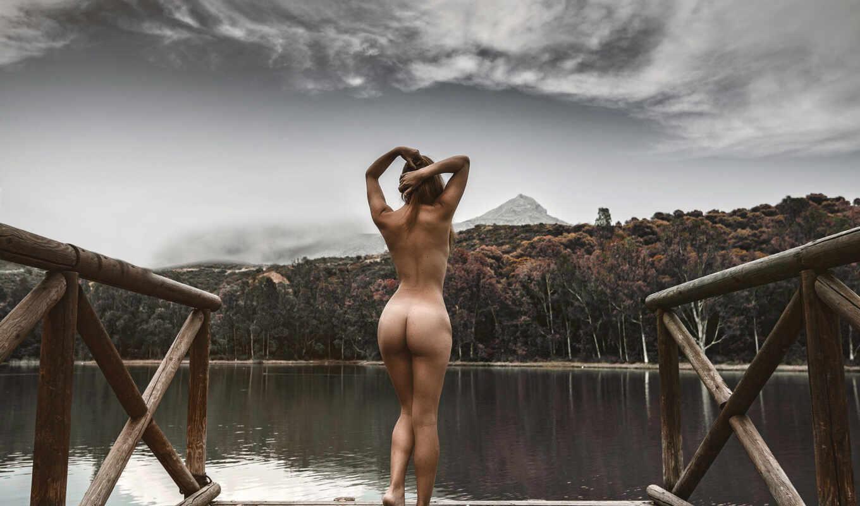 мост, голая, девушка, спина