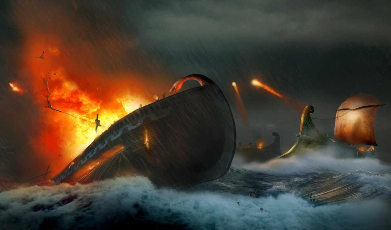 conan, age, hyborian, море, атака, adventures, волны, корабли, огонь, выстрелы, война,