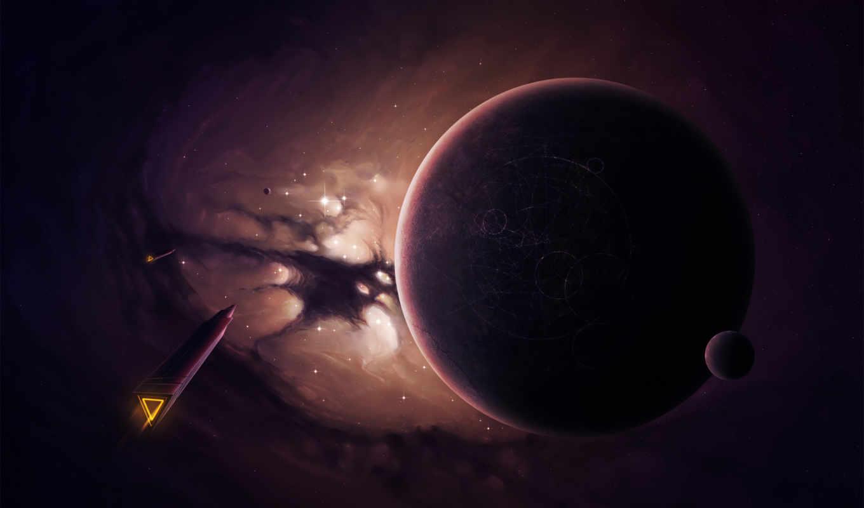 spaceships, planet, purple,
