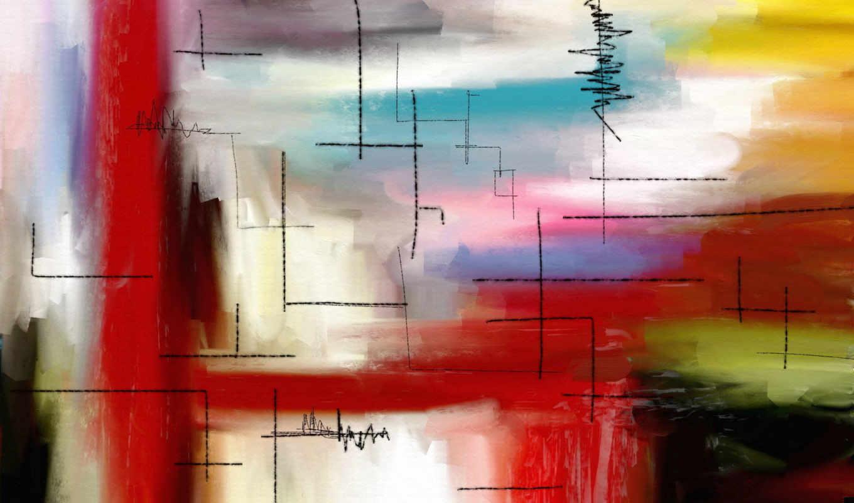 картина, краски, стиль, abstract, имеет, горизонтали, вертикали,