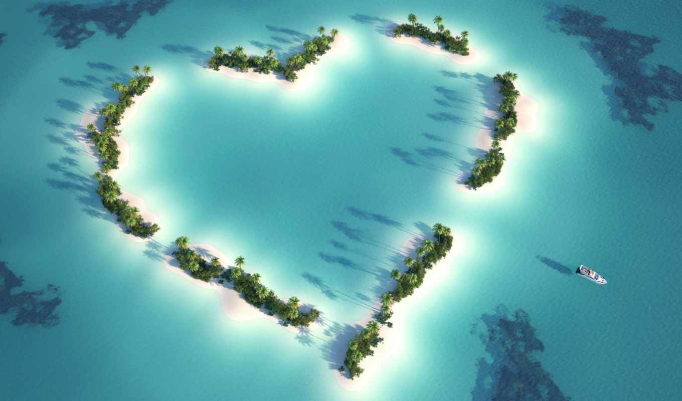 love, heart, пальмы, тропики, океан, island, turquoise, shaped, romance, islands, иш, часть,