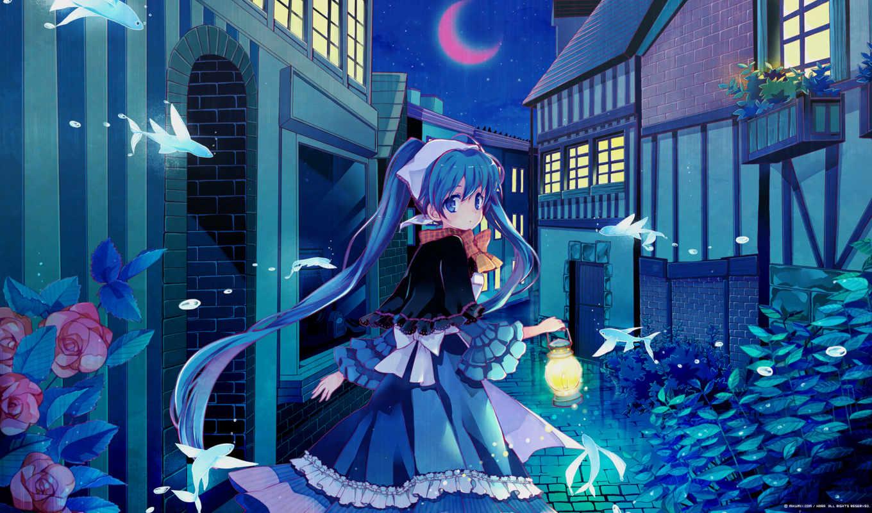 аниме, hatsune, девушка, фонарь, рыбки, картинка, vocaloid, картинку, canada, miku, goose, правой, кнопкой, riu, выберите, ней, мыши, скачивания, пейзаж, разрешением, save,