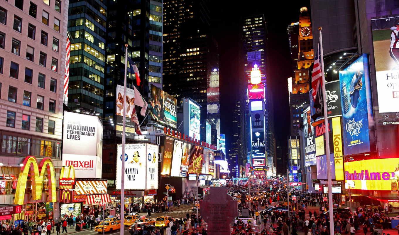 нью, йорк, noch, square, ночь, new, york,