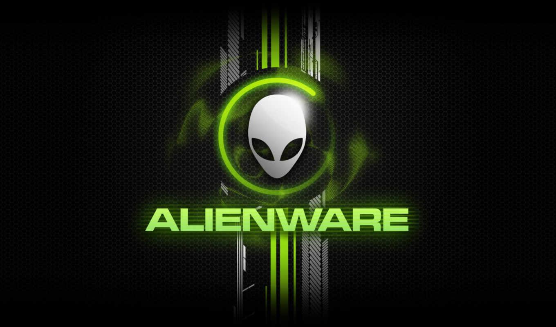 alienware, лого, голова, зелёный